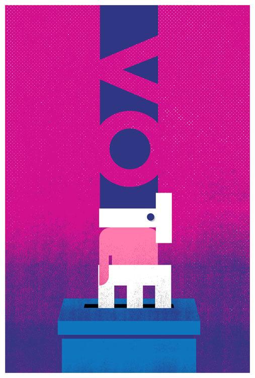 Image of VOTE Ballot Box - GOTV Giclee Poster - NEW!