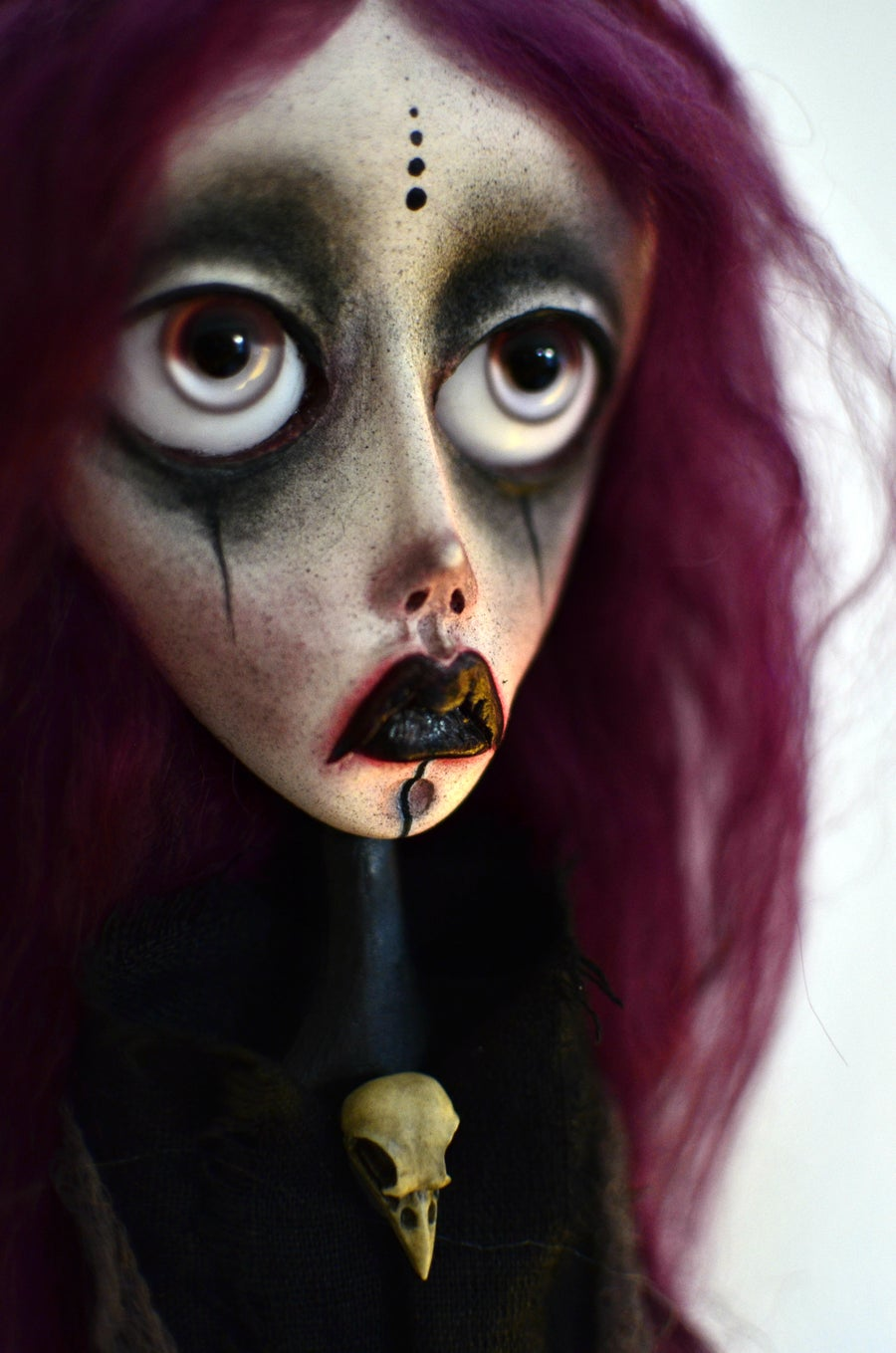 Image of OOAK Handmade art doll head ornament NORA. Witch doll, pagan doll, dark doll, sad doll, gothic doll