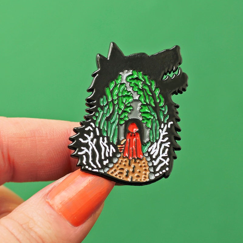 Image of Little Red Riding Hood, enamel pin - folk tale pin - fairytale inspired - red cap - lapel pin badge