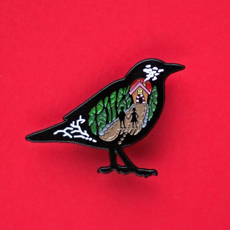 Image of Hansel & Gretel inspired enamel pin - folk tale pin - fairytale - bird pin - lapel pin badge