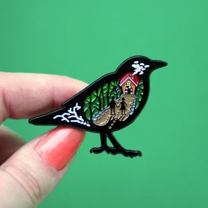 Image of Hansel & Gretel inspired enamel pin - folk tale pin - fairytale - bird pin - lapel pin badge