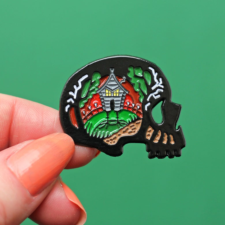 Image of Baba Yaga, witch inspired enamel pin - folk tale pin - fairytale - skull pin - lapel pin badge