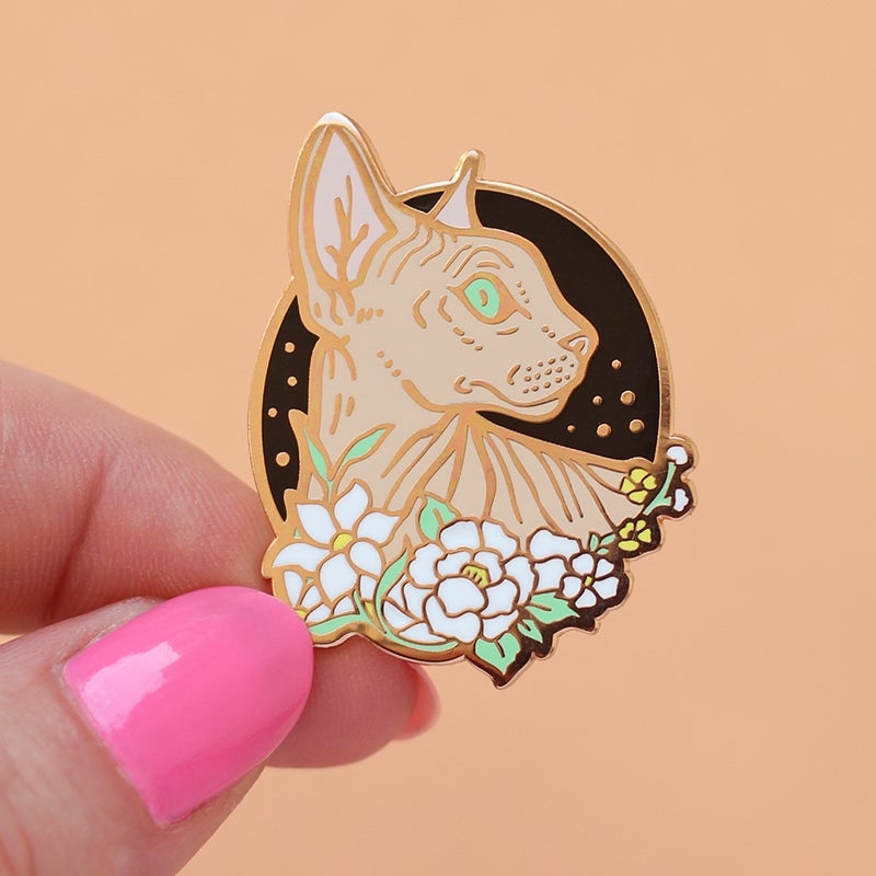 Image of Sphynx cat with flowers, enamel pin - floral pin - sphynx cat - hairless cat - lapel pin badge