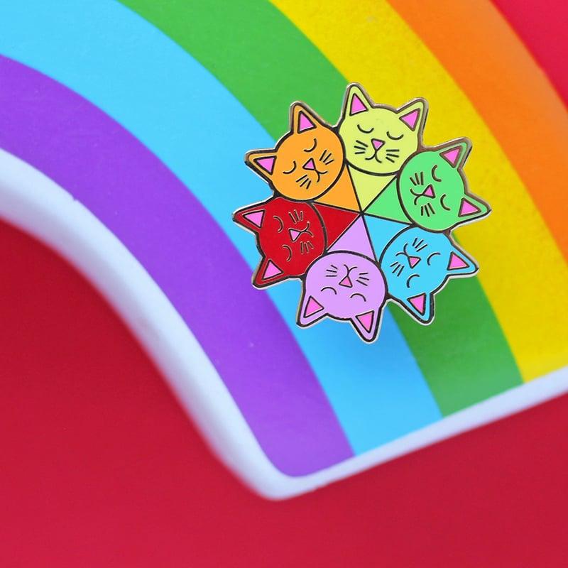 Image of Cat colour wheel, hard enamel pin - rainbow pin - artist - colour theory - lapel pin badge