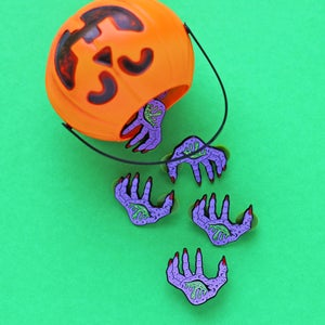 Image of Bleeding witch hand, enamel pin - witchy pin - purple hand pin - spooky pin - lapel pin badge