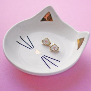 Image of Cat nose earrings - gold plated - 925 silver posts - cat gift - cat earrings - hard enamel studs