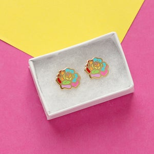 Image of Rainbow Rose earrings - gold plated - 925 silver posts - flower earrings - hard enamel studs