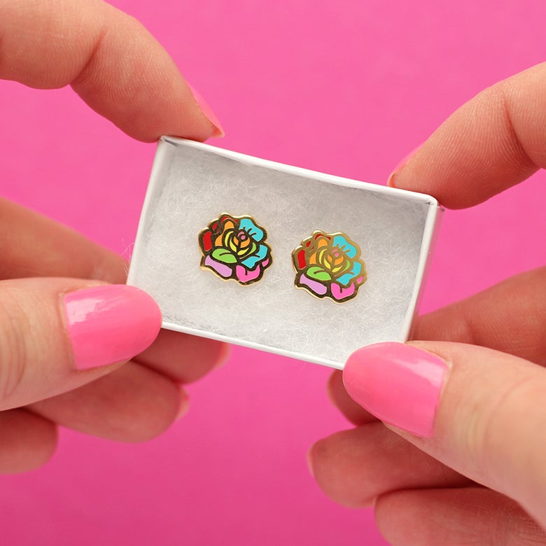 Image of Rainbow Rose earrings - gold plated - 925 silver posts - flower earrings - hard enamel studs