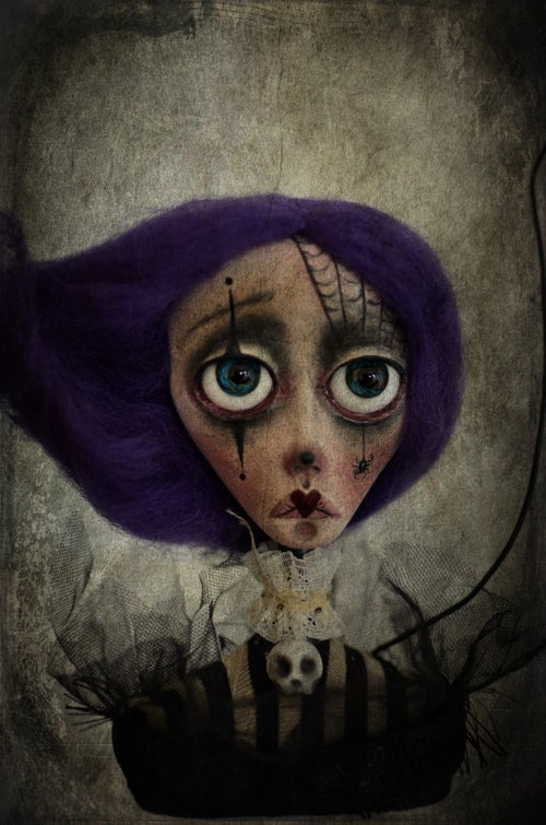 Image of *RESERVED* OOAK Handmade art doll bust AGUSTINA. Halloween clown doll, dark doll, sad doll