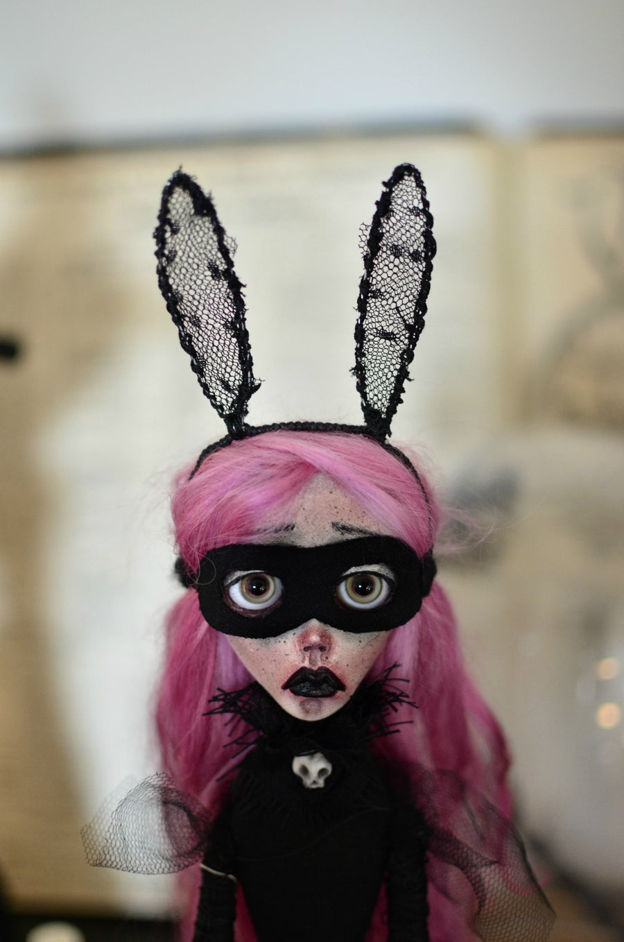Image of RESERVED OOAK Handmade art doll MATILDA. Dark doll, bunny doll, dark surrealism, lowbrow