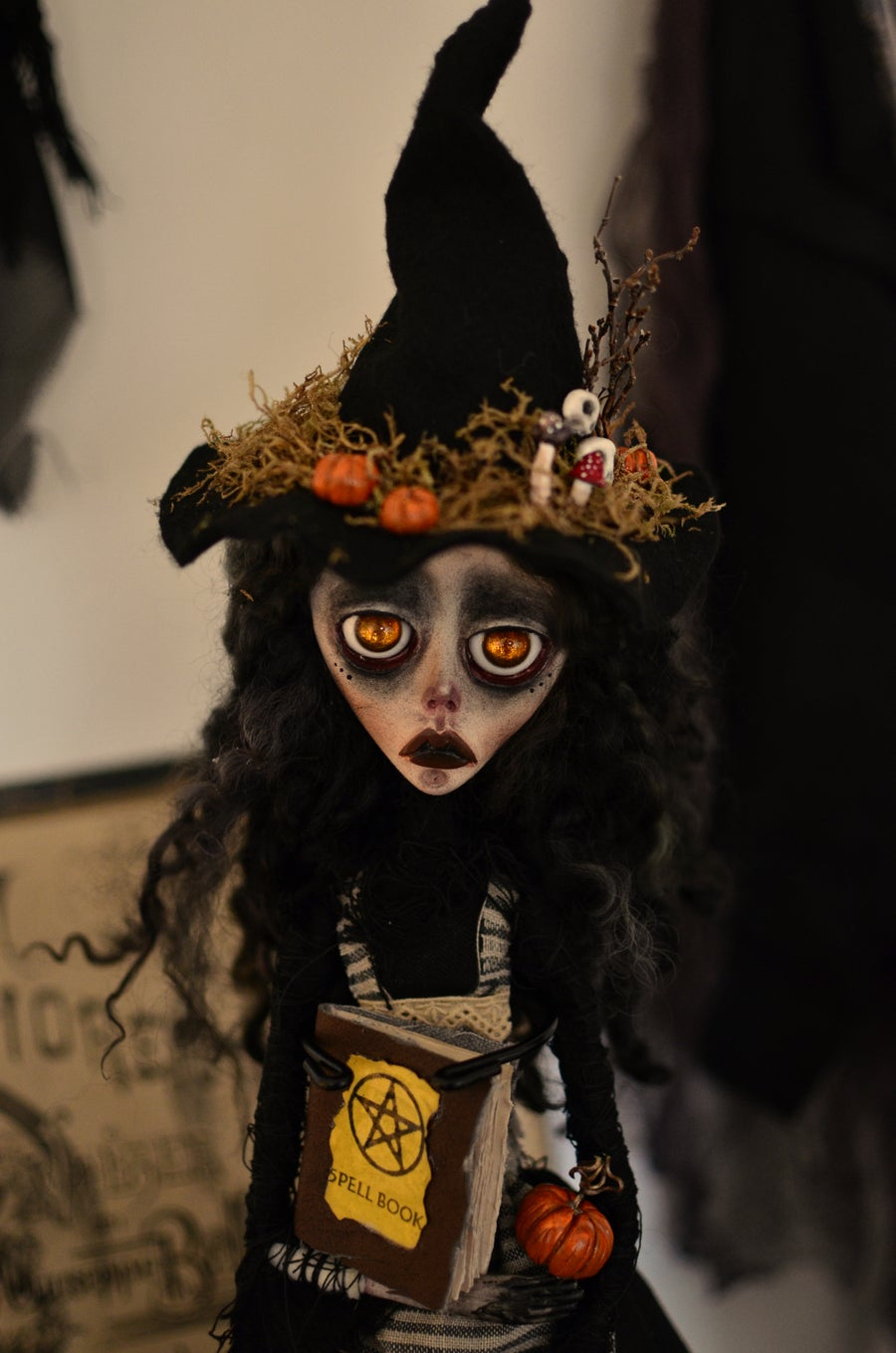 Image of OOAK Handmade Art Doll EMILIA. Witch doll, dark doll, sad doll, gothic doll, witch hat, Halloween