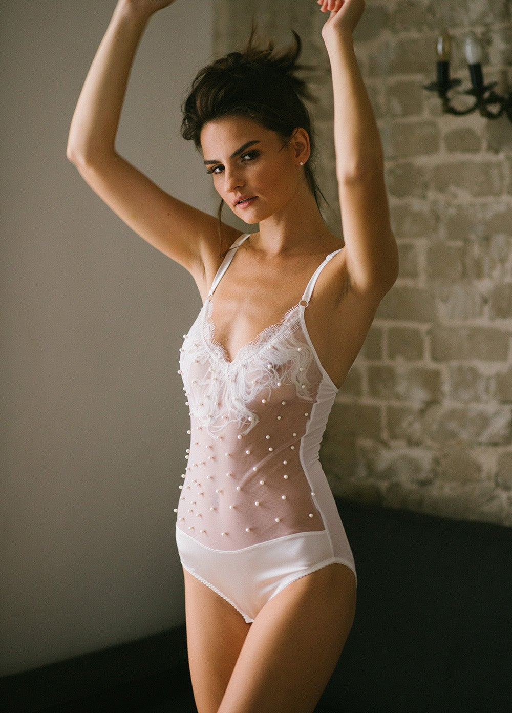 Image of VIVIAN Ivory Silk and Pearl tulle bodysuit