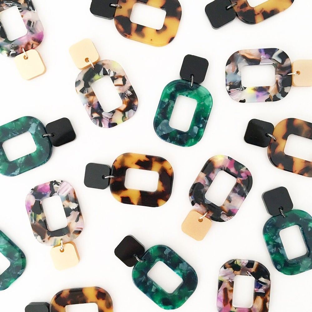 Image of It's hip to be square - acrylic tortoise dangles