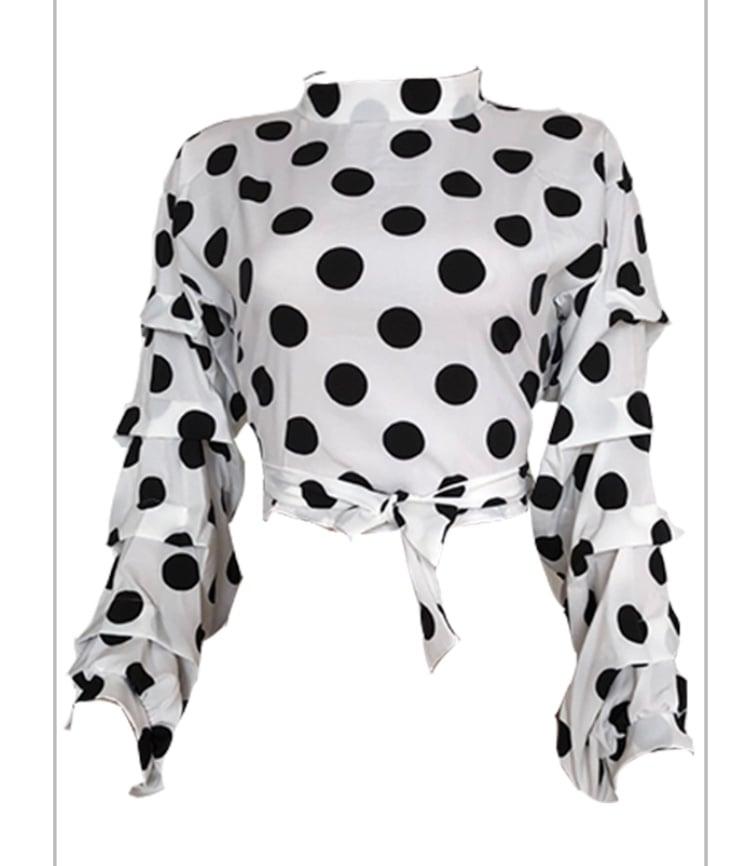 Image of Polka dots crop blouse