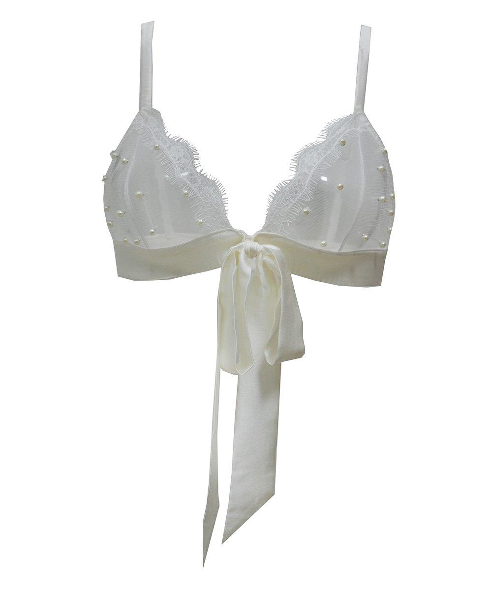 Image of VIVIAN Silk satin & pearl tulle Bow tie Bra