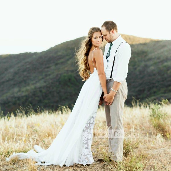 Image of Sexy Ivory White Lace Beach Wedding Dress, Summer Outdoor Low Back Spaghetti Bridal Formal Gown
