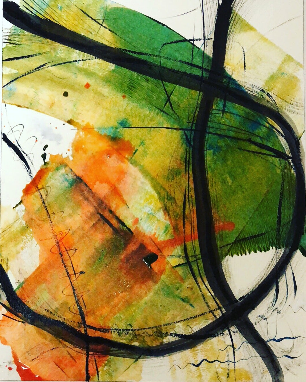 Image of Good Conversation- abstract painting on paper