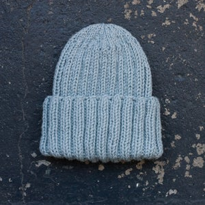 Image of Beanie, Wool mix, Light Pale Blue Grey