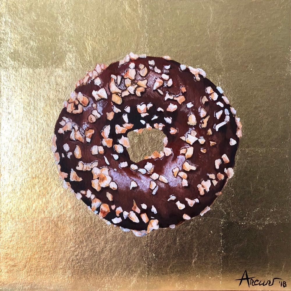 Image of Gold Chocolate & Nuts Donut 22kt