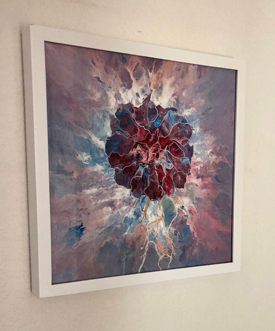 Image of Acrylic Poured Painting with Blown Flower
