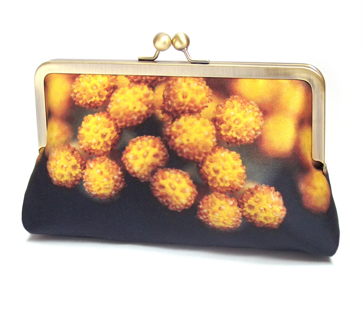 Image of Yellow flower pods, silk clutch bag