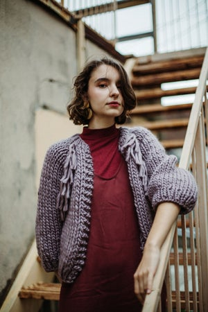 Image of Perth Cardigan (shown w/ fringe in Lilac + more colours)