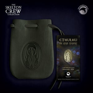 Image of The Skelton Crew Collection: Limited Edition Cthulhu pin & dark olive leather pouch set