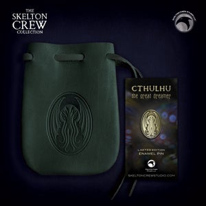Image of The Skelton Crew Collection: Limited Edition Cthulhu pin & green leather pouch set