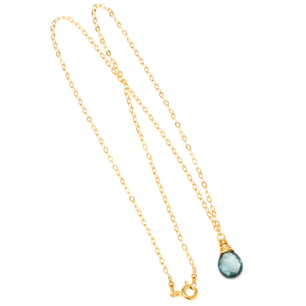 Image of Moss Aquamarine necklace solitaire 14kt gold filled or sterling silver