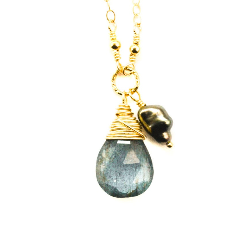 Image of Moss aquamarine Tahitian pearl necklace 14kt gold-filled