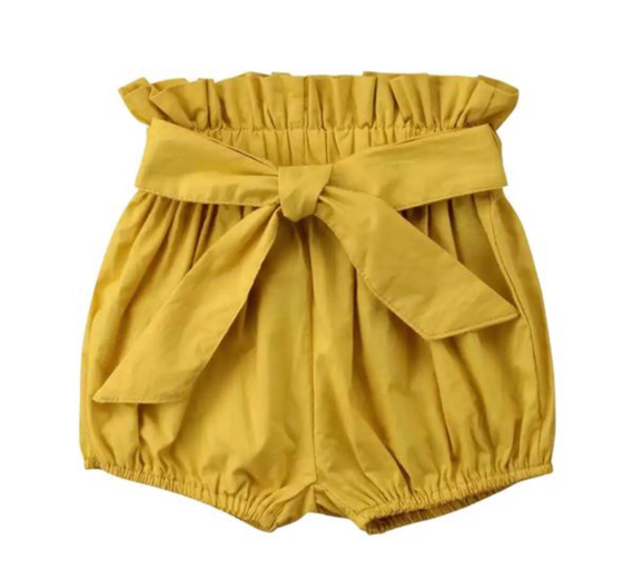 Image of High Waisted Shorts - Mustard