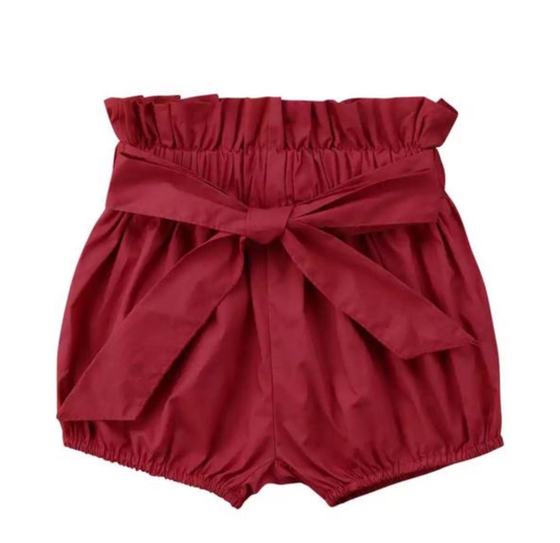 Image of High Waisted Shorts - Red