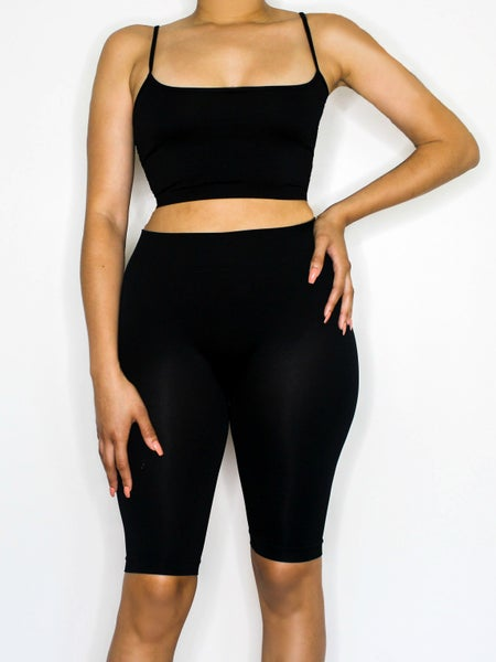 Image of the barely there two piece short set - black