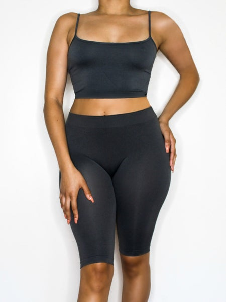 Image of the barely there two piece shorts set - charcoal