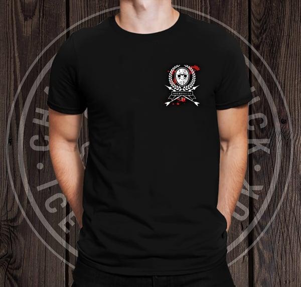 Image of Small logo 'hockeyween' shirt