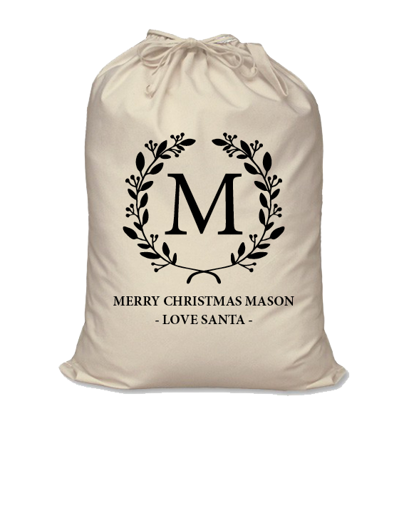 Image of Personalised Christmas Santa Sack - Initial Wreath - Calico