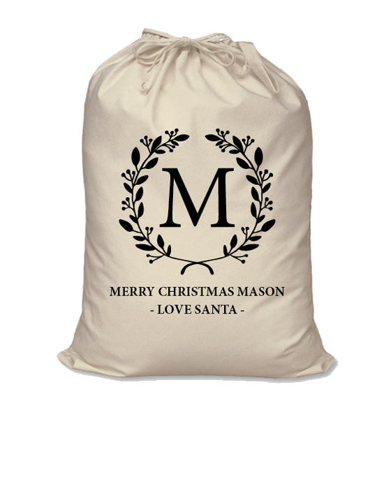 Image of Personalised Christmas Santa Sack - Initial Wreath - Calico