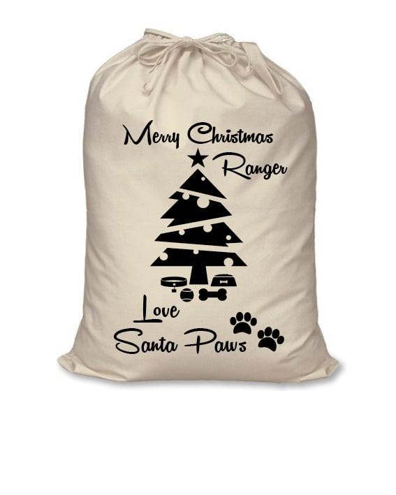 Image of Personalised Christmas Santa Sack For Your Dog - Merry Christmas Santa Paws - Calico