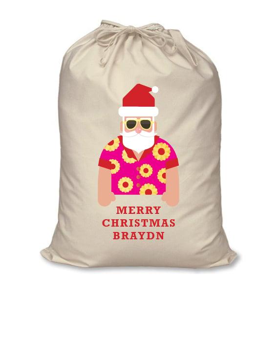 Image of Personalised Christmas Santa Sack - Beachside Santa - Calico