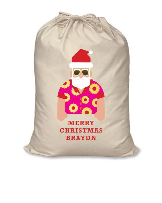 Image of Personalised Christmas Santa Sack - Beachside Santa