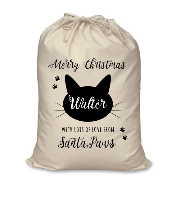 Image of Personalised Christmas Santa Sack For Your Cat - Merry Christmas From Santa Paws - Calico