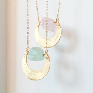 Image of Halo Necklace - gold plated brass - Rose Quartz / Fluorite / Quartz