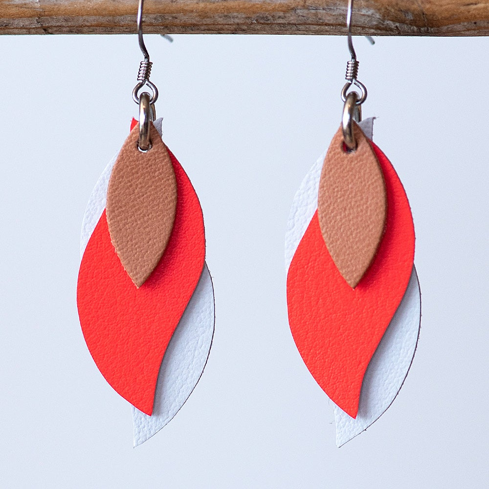 Image of Handmade Kangaroo leather leaf earrings - Tan, coral, white [LCO-081]