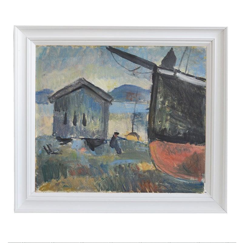Image of Mid-Century, Swedish Oil Painting, ''Fishing Boat' Åke Winnberg (1912–1974)