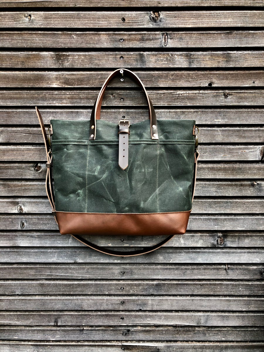 Image of Waxed canvas tote bag with leather handles and shoulder strap
