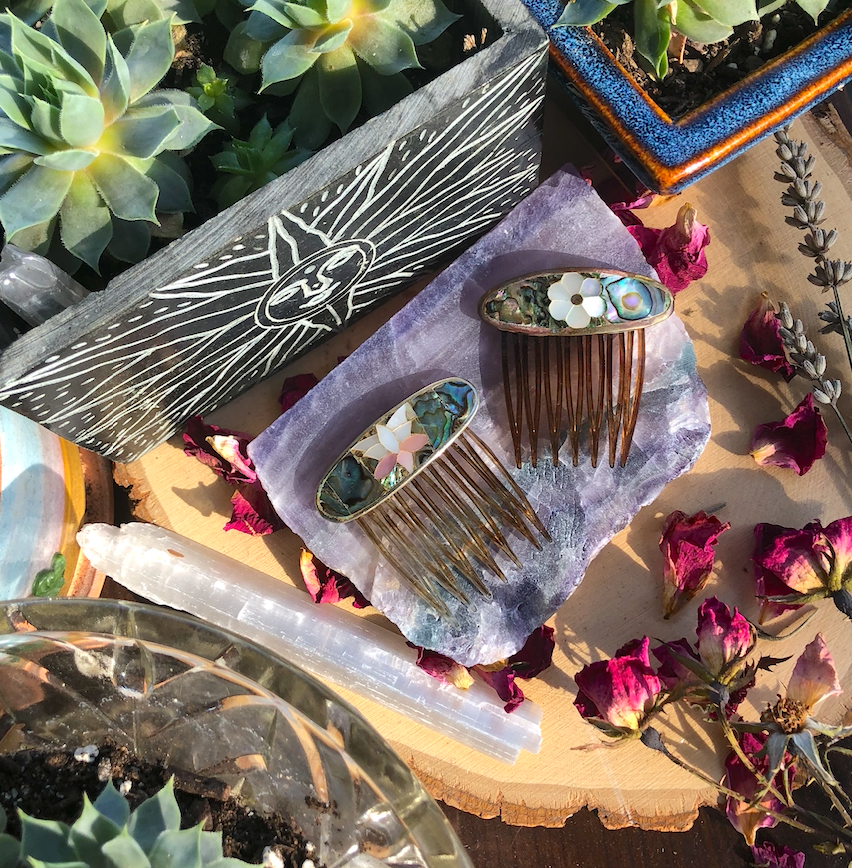 Image of Vintage Abalone + Mother of Pearl Inlay Hair Combs