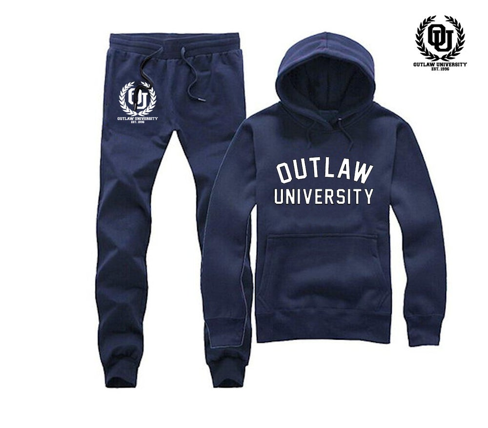 Image of Outlaw University Unisex Sweat Suit - COMES IN BLACK, GREY, NAVY BLUE, RED