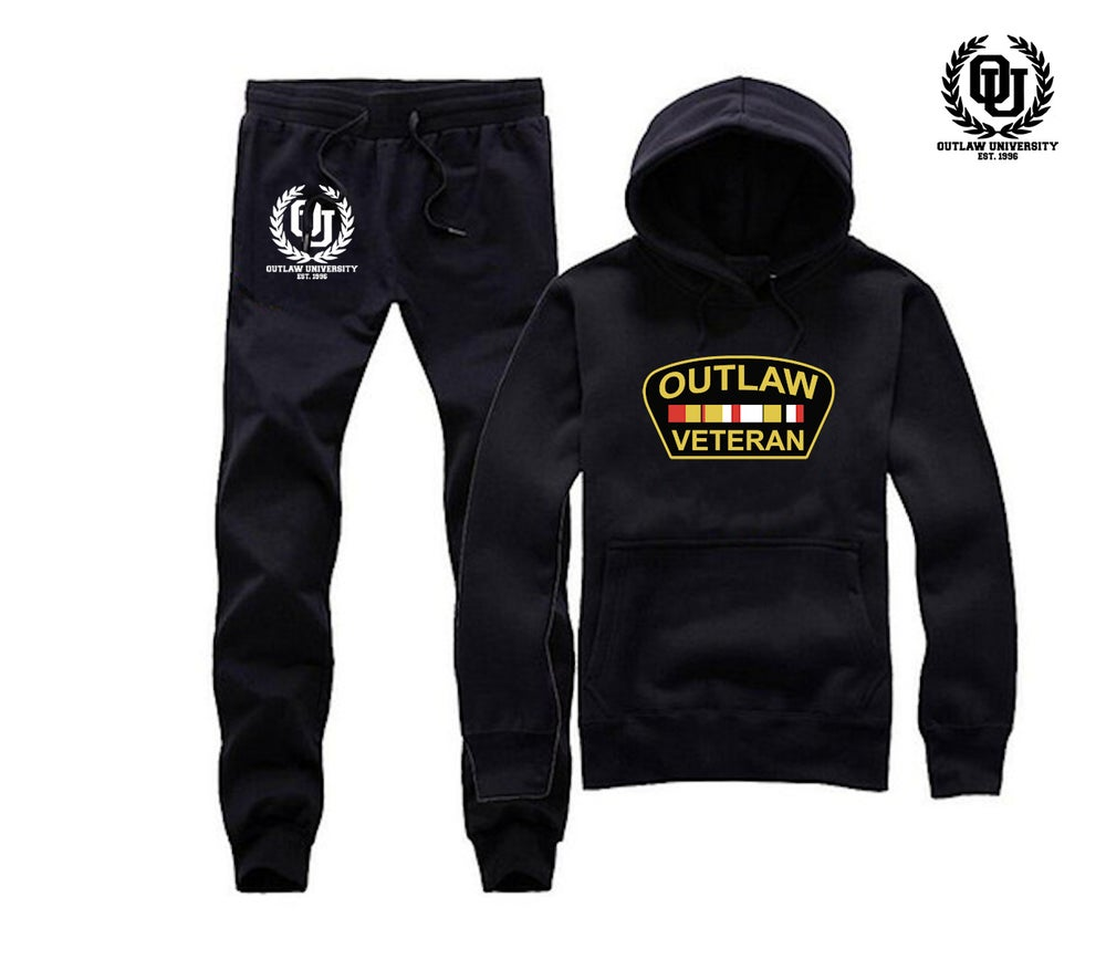 Image of Outlaw Veteran Unisex Sweat Suit- COMES IN BLACK, GREY, NAVY BLUE, RED