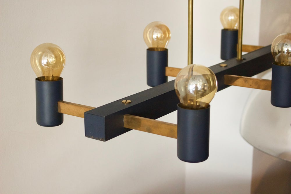 Image of Minimal Steel & Brass Chandelier, 1950s