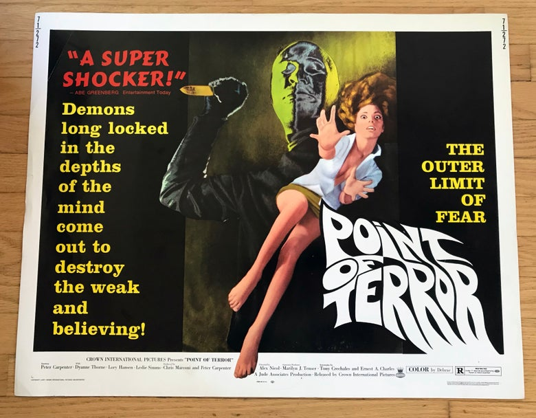 Image of 1971 POINT OF TERROR Original U.S. Half Sheet Movie Poster
